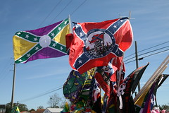 Odd Confederates (FilmandFocusPhoto) Tags: canon sigma 1750 1750mm outdoors outdoor naturallight availablelight sunlight daylight sunshine photoshopfree noprocessing untouched unedited noedit unaltered flag mississippi rebel mardigras carnival sky cart