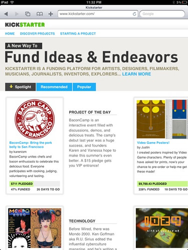 Baconcamp on kickstarter home page!
