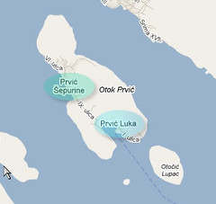 Prvic Luka Detail Map