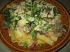 Pasta met rauwe ham, doperwten en paddenstoelen