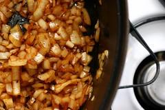 onions in chorizo spice