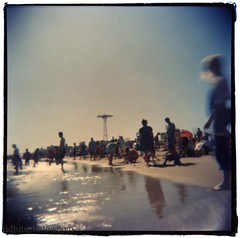 Coney Island (david sine) Tags: nyc longexposure newyork color 120 film beach water brooklyn mediumformat square fun coneyisland holga sand holga120cfn parachuteride
