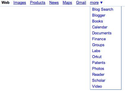 Google Products in Top Google Nav