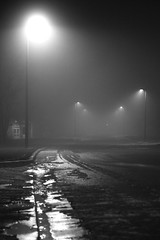 The Mist (Mario.Q) Tags: road street blackandwhite bw ice fog night photography lights streetlights michigan lansing handheld canonrebelxt visibility imagestabilization canon1755mmf28isusm