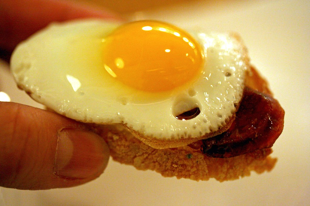 Tiny quail egg toast...