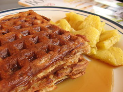 Pecan Waffles with Sauteed Pineapple