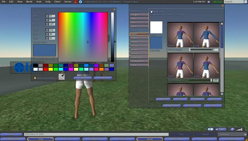 Second Life: Making Clothes: 11 - Tinting Shirt, Click Select