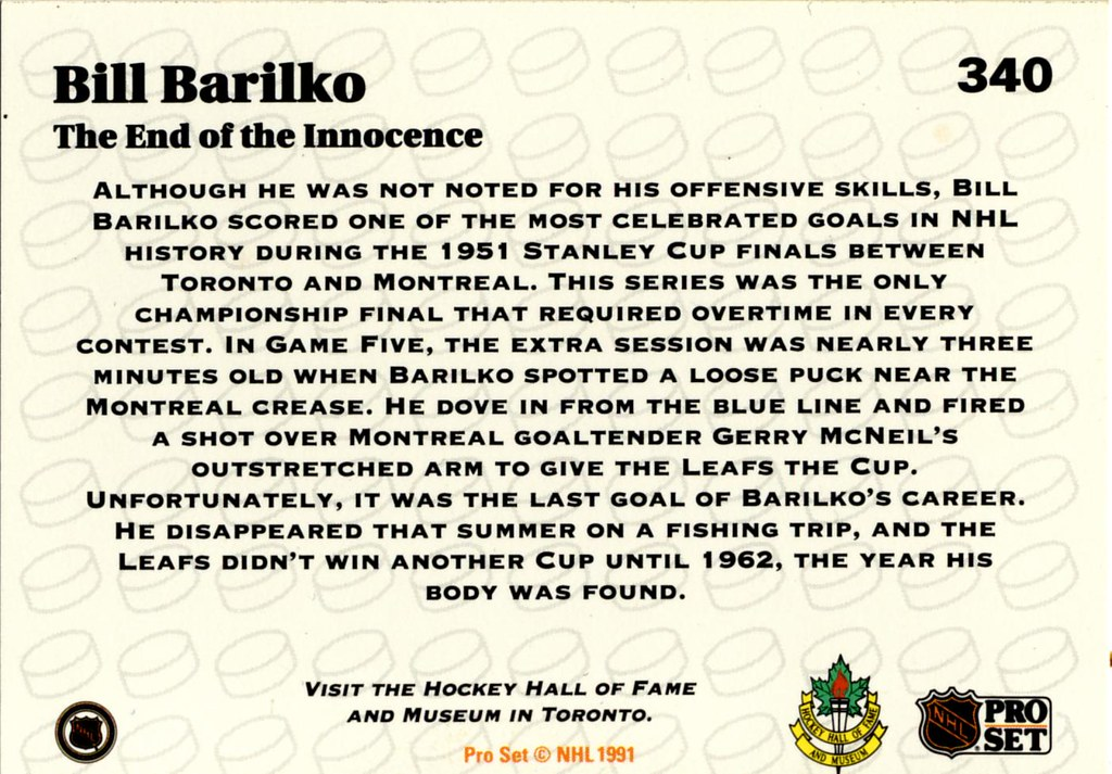 Bill Barilko disappeared...