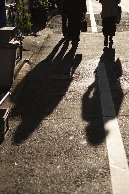 路面にのびる影