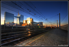 Brussels North train station sunset (Erroba) Tags: sunset brussels station train canon belgium bruxelles sigma 1020mm erlend brussel hdr 3xp 400d goldstaraward erroba robaye erlendrobaye