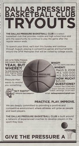 Dallas Pressure Basketball Club advertisement.  Dallas Morning News.  03.06.08.