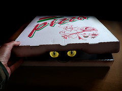 Dangerous pizza (fatseth) Tags: black hot eye cat photoshop dark noir hand box fear main fake evil minu oeil pizza hidden sombre montage devil spicy chaud morel boite peur retouche cach pic fatseth ilovemypic genseric