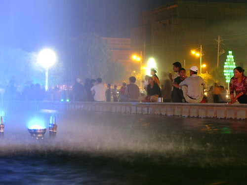 Water fountain display in Turpan, Xinjiang Province, China