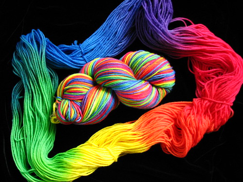 Rainbow Worsted Hand Dyed Yarn