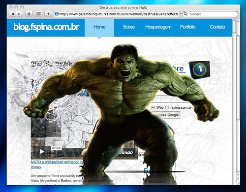 Hulk destruindo meu blog
