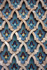 Tiles In The Stone (MykReeve) Tags: blue stone wall tile pattern morocco tiles casablanca tiling hassaniimosque