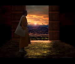 At the Gate (h.koppdelaney) Tags: world life light art digital freedom gate peace state path buddha monk philosophy inner silence mind meditation crow awareness metaphor passage stillness consciousness rinpoche silencio psychology transcendence stille mahamudra