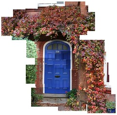 Front Door! (dan-ish) Tags: door blue autumn leaves composite town mix mess many mashup steps front number crisp join danish messy civic stick metropolis wonky residential developed metropolitan hockney joiner lots mash settlement 119 dma fragment disjointed hallett urbanised urbanized builtup dan0ish danmorrisadams morrisadams