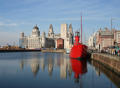 Pier Head, Liverpool (Turkinator) Tags: city blue red reflection liverpool boat dock waterfront pierhead albertdock lightship liverbuilding merseytunnel ventilationshaft portofliverpoolbuilding europeancapitalofculture2008