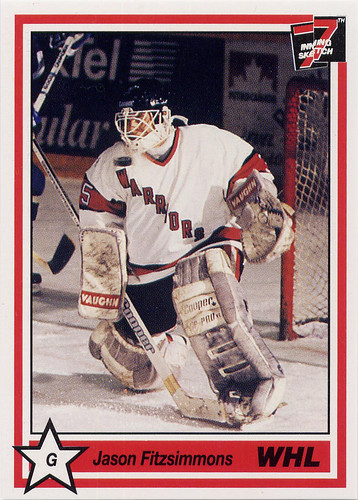 jason fitzsimmons, moose jaw warriors, whl, western hockey league, goalie, 7th inning sketch, 90-91