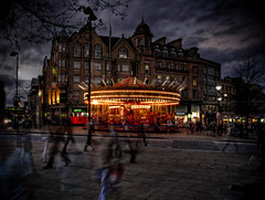 The old and the new (arepeejee) Tags: winter star sheffield yorkshire go carousel round winner nights ghosts merry graduate merrygoround telegraph hdr shoppers lightroom fargate mywinners slrspickoftheweek