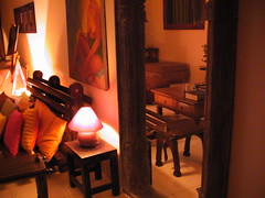 a new mirror (Indian Homemaker (Kamera Krazy)) Tags: lamp painting table lights futon cushions miror easel showyourhouse
