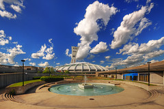 The garden and the olympic fountain II HDR (David Giral | davidgiralphoto.com) Tags: canada garden afternoon cloudy quebec stadium montreal sigma sunny olympic 1020mm hdr sigma1020mm sigma1020 5xp tthdr