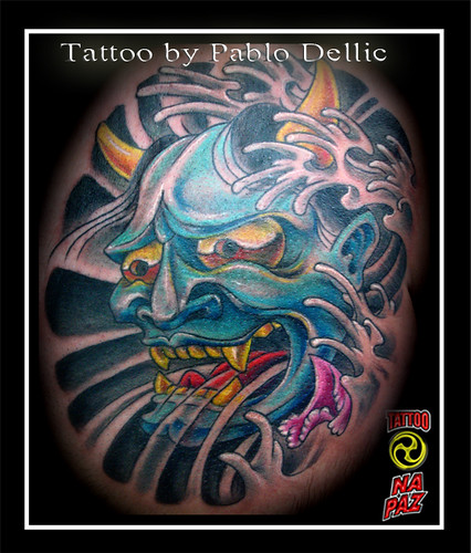 Japan · Tatuagem de mascara Oriental , Hanya Oriental Mask Tattoo by