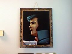 Crying Elvis on black velvet in Michael Hoffman's office