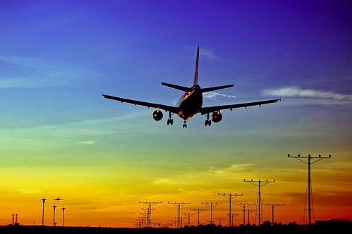 LAX Sunset Airplane Landing