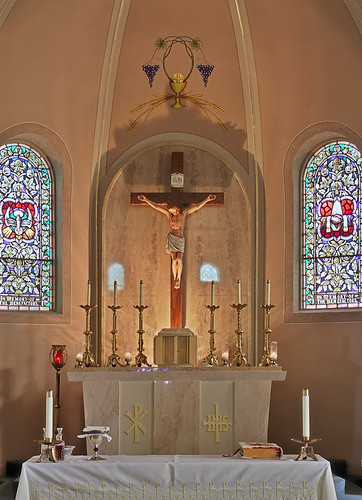 Saint Joseph Roman Catholic Church, in Zell, Missouri, USA - tabernacle and crucifix