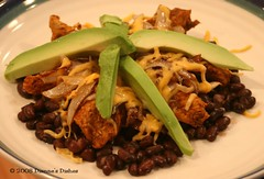 Mexican Chicken Stack-up: Beans, Chicken, Onions, Cheese and Avocado