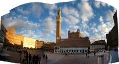Il Campo Panorama (wenzday01) Tags: travel italy panorama tower photoshop canon europe italia torre sunny center palace tuscany campo t