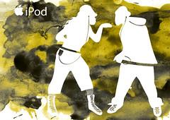 Funky couple (Xelya) Tags: apple illustration advertising mac ipod moda silhouettes watercolors siluet ilustración acuarelas fashionillustration ipodadvertising xelyah xelya appleadvertising