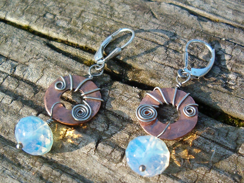 opal glass, copper & SS earrings