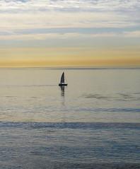 Lone Sailboat (Twitchietai) Tags: ocean california beach sailboat sunrise dawn coast view pacific playa scene malibu amanecer pointdume pacificocean shore vista oceano orilla littledume tartyshots mahourivera