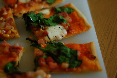 Pancetta, spinach and pinenut pizza