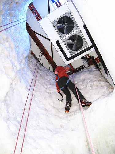 ice climbing in a big freezer