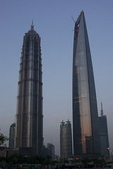 two towers (badbrother) Tags: china sky tower architecture skyscraper construction cityscape skyscrapers shanghai towers highrise   lujiazui
