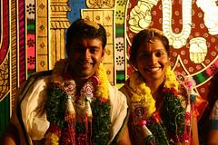 neeraja's wedding (vbsuresh) Tags: wedding india flower smile yellow friend couple colours dof rice drawing indian garland ornaments hyderabad neeraja