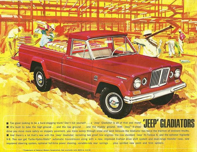 auto truck ads advertising jeep pickup kaiser gladiator 1965 gcar j2000 j3000