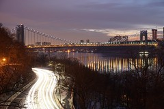 Night on the River (MiddleRob) Tags: hudsonriver nyc fttryonpark nycparks park manhattan washingtonheights georgewashingtonbridge reflection nightscape cityscape