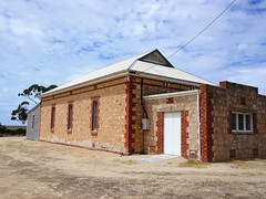 Petersville near Ardrossan. The first public hall was  built around 1883. Destroyed by a wind storm 1913. This limestone hall opened in 1914. Still in use. (denisbin) Tags: ardrossan petersville school holeinthewall atm hall limestone stateschool blackboard schoolroom ruins