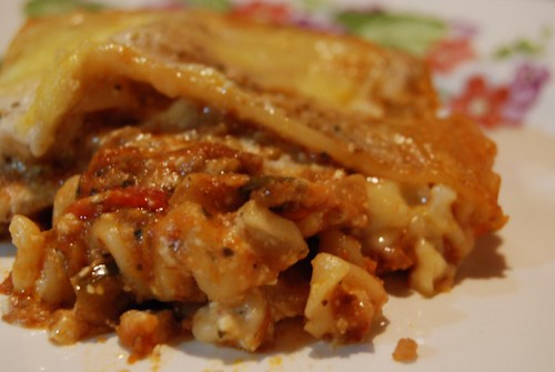 Lasagne: A slice, before it set, for me to eat