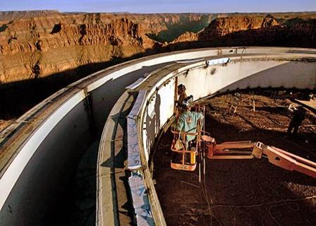 Construction of the Grand Canyon Skywalk on Grand Canyon's west edge