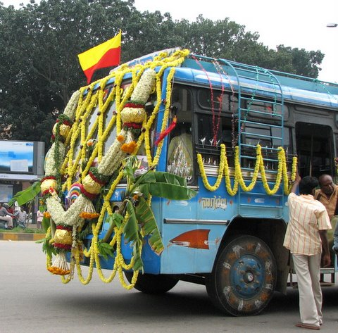 Front of bus on Rajyotsava Day 011107