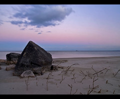 Purple Hue (robert_goulet) Tags: longexposure blue sunset sky lake ontario canada beach clouds digital sand rocks purple hamilton shoreline rocky olympus mauve lakeontario zuiko evolt e500 zd thegreatlakes fourthirds mikecrough
