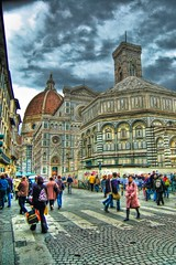 Florence 2 - HDR (Ageel) Tags: street travel sky people italy tourism church clouds buildings d50 photography florence italian nikon italia cathedral tourists filter handheld firenze 1855mm duomo nikkor hdr  photomatix  tonemapping  ageel