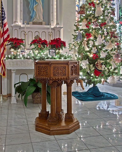 Saint Joseph Roman Catholic Church, in Apple Creek, Missouri, USA - baptismal font