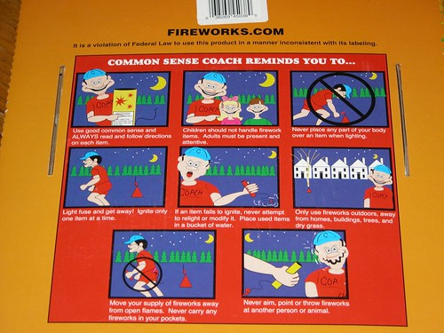 Strange fireworks warning label with creepy inhuman cartoon characters